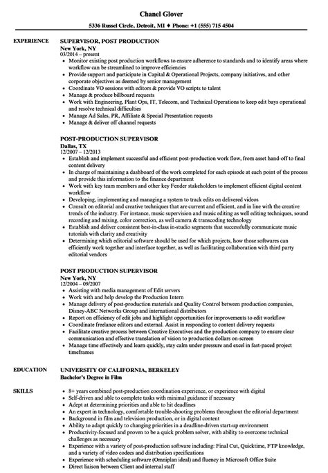 Production Supervisor Resume by Post Production Supervisor Resume Sles Velvet