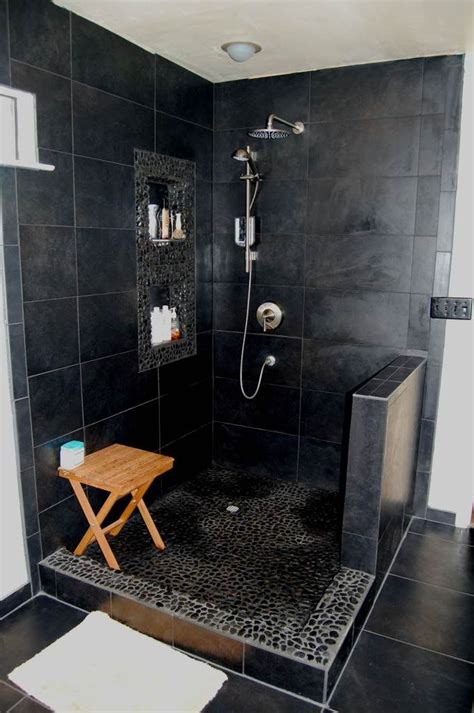 20 modern bathrooms with black shower tile open showers