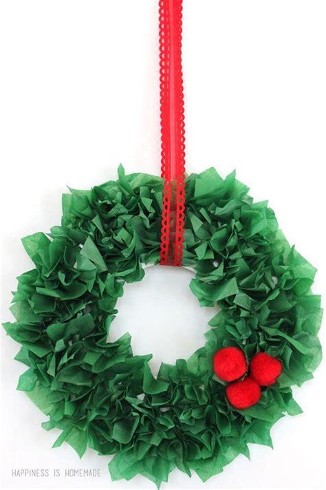 christmas kids craft tissue paper wreaths christmas