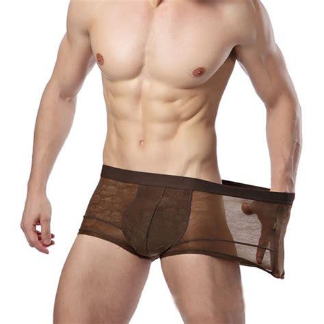 transparent boxer men underwear sexy brand boxer shorts