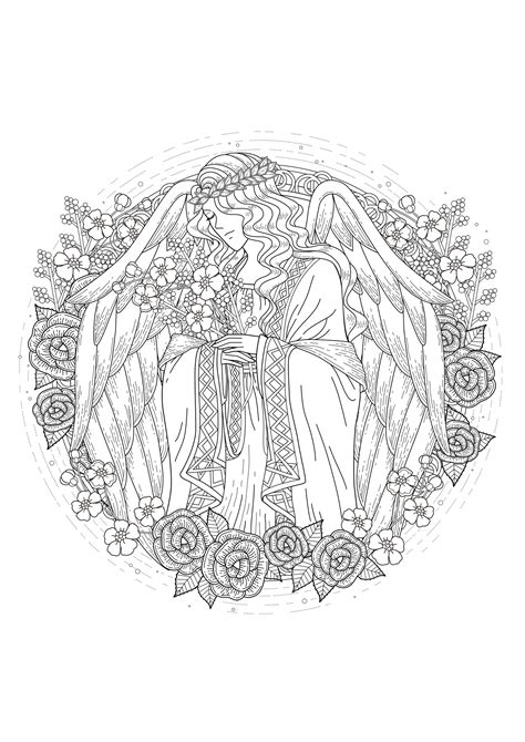 angel myths legends adult coloring pages