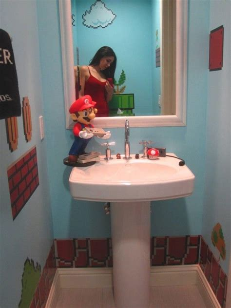 super mario brothers bathroom decor declares game
