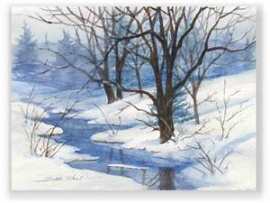 Christmas Watercolor Greeting Card Winter Landscape by