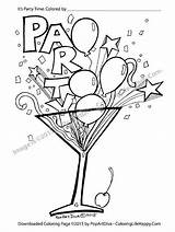 Coloring Printable Glass Cocktail Martini Pages Confetti Recipes Streamer Balloon Filled Margarita Birthday Adult Happy Fun Adults Instant Cards Cocktails sketch template