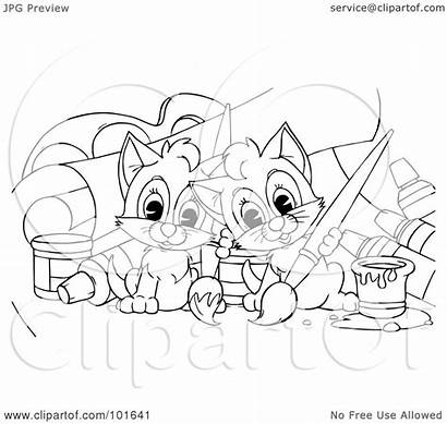 Outline Coloring Painting Kittens Rf Clipart Bannykh