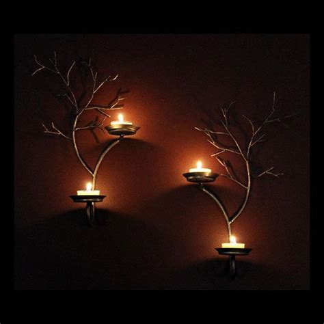 tea light sconces set of two candle metal tree sculpture wall sconces for