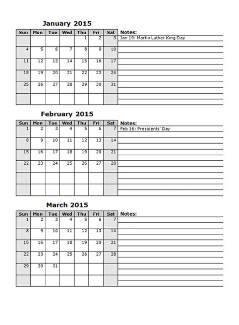 13 Month Calendar Template by 2015 Monthly Calendar Template 12 Free Printable Templates
