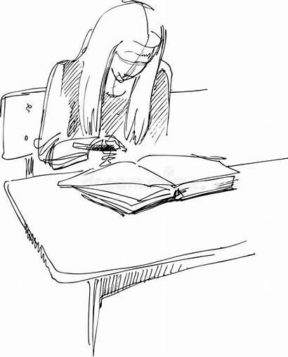 Desk Drawing Sitting Desks Drawings Class Som