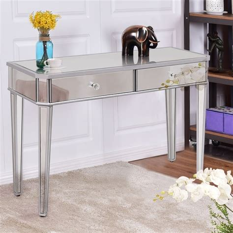 Glass Mirror Vanity Table by Costway 2 Drawer Mirrored Vanity Make Up Desk Console