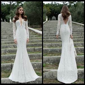 aliexpresscom buy new long sleeve deep v neck backless With long sleeve tight wedding dresses