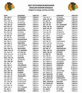 2017-18 Blackhawks Regular Season Schedule Released ...