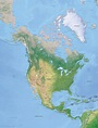 Vector Map North America continent XL relief | One Stop Map