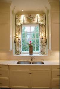 inverted pleat valance with trim over panels in sink With over the sink kitchen window treatments