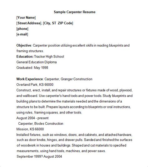 carpenter resume template   samples examples