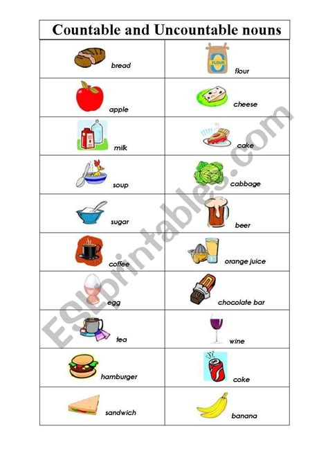 countable and uncountable nouns esl worksheet by bohda