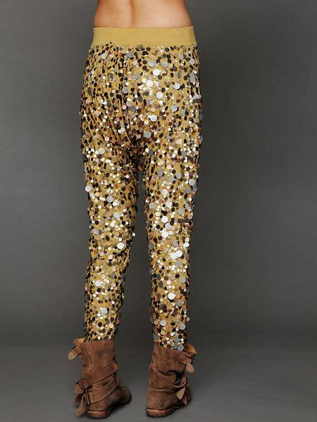 people disco sequin harem pants  gold gold metal