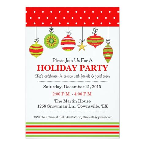 ornament christmas or holiday party invitation zazzle