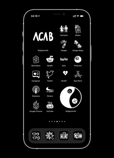 free black ios 14 app icons
