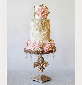 Elegant Cream, Gold and Pink Wedding Cake by Amy Cakes