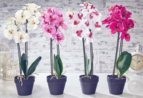artificial orchid flowers plants in pot home decor garden fuchsia pink white ebay