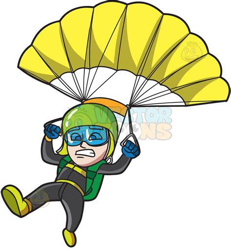 A Scared Male Skydiver Cartoon Clipart