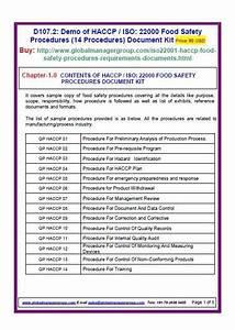 Iso 22000 Procedures  14 Fsms Procedures  Document Kit
