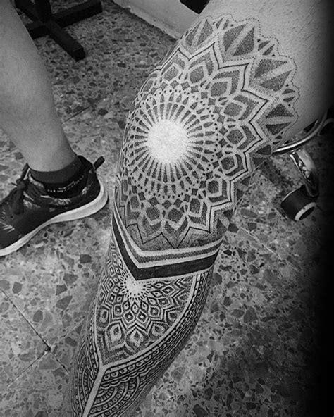 geometric leg tattoos  men masculine design ideas