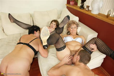Five Kinky Mature Sluts Get Fucked By Two Guys