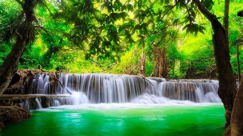 beautiful background green river waterfall  kanchanaburi