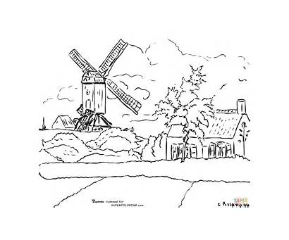 Coloring Windmill Belgium Camille Pissarro Pages Knock