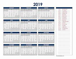Custom Yearly Planner 2019 Excel Yearly Calendar Free Printable Templates