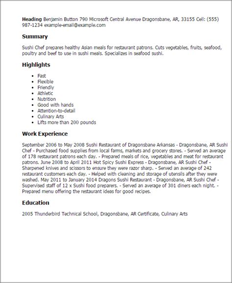 Sushi Chef Resume Template professional sushi chef templates to showcase your talent myperfectresume