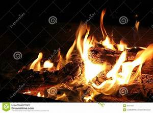 Burning Log In Hot Fire And Flames Stock Photo - Image ...