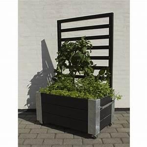 Cubic jardiniere design rectangulair avec treillis sur for Chambre bébé design avec bac fleur noir