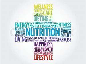Nutrition Word Cloud  Health Cross Concept