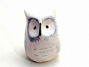 Snowy Owl - Clay Ceramic Animal Sculpture - Cute Owl ...