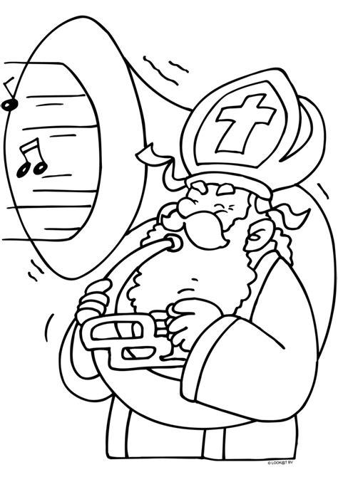 Kleurplaat Muziekpiet by Sinterklaas Blaast Advendo Lochem
