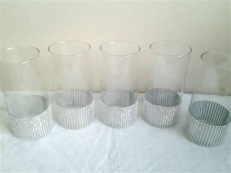 centerpiece cylinder vase lot silver bling rhinestone