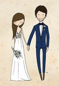 Dessin Couple Mariage Couleur : 1001 id es de l 39 illustration mariage pour c l brer votre ~ Melissatoandfro.com Idées de Décoration
