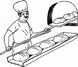 Bread Baker Oven Coloring Fresh Peel Wooden Removes Traditional sketch template