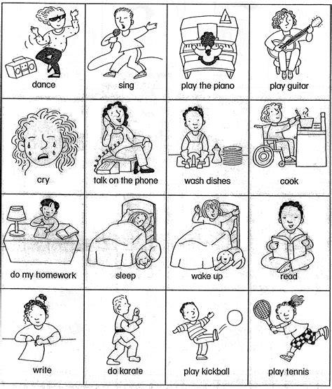 sheet for teaching basic verbs verb card games beginner esl efl