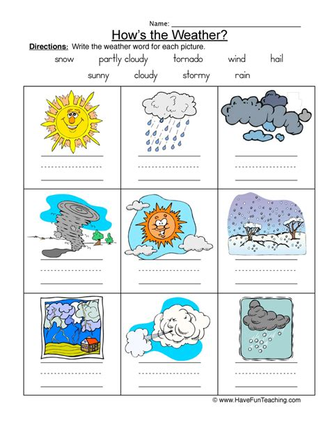 weather names worksheet