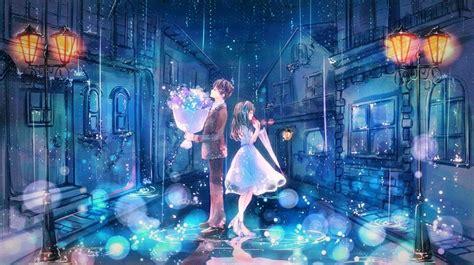 anime girl rain iphone wallpaper beautiful male anime couple wallpaper google search ღ