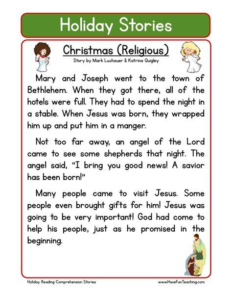 reading comprehension worksheet christmas religious