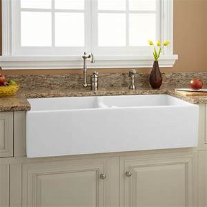 39quot risinger double bowl fireclay farmhouse sink with With 39 inch farmhouse sink