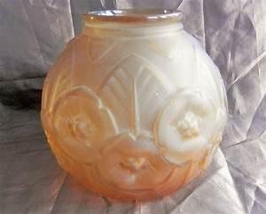 Gros Vase En Verre : gros vase boule ancien ann es 30 style joma en verre moul et givr jaune mes ventes ebay ~ Melissatoandfro.com Idées de Décoration