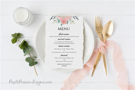 pink boho reception menu template wedding printable