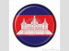 Cambodia American Button Round Flag Stock Photo Image