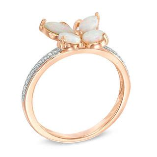 lab created pink opal  white sapphire butterfly ring
