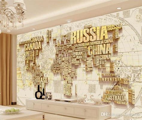 custom gold world map wallpaper murals  tv